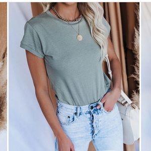 Unfazed Cotton T-Shirt Bodysuit in Sage